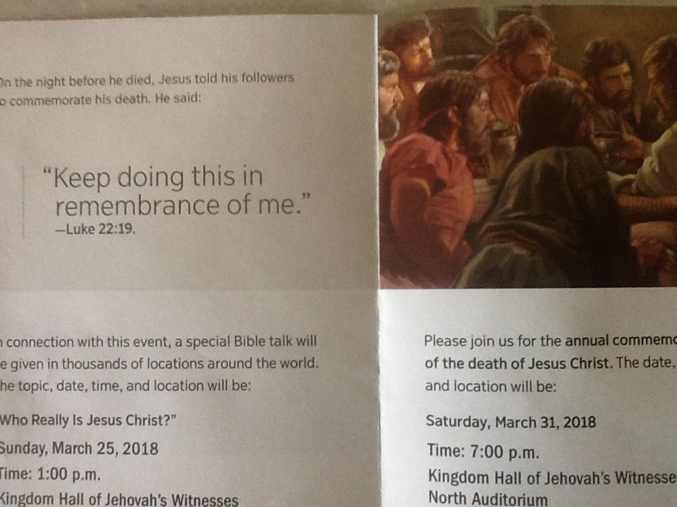 Invitation to Jehovahs Witness Memorial undercoverjw